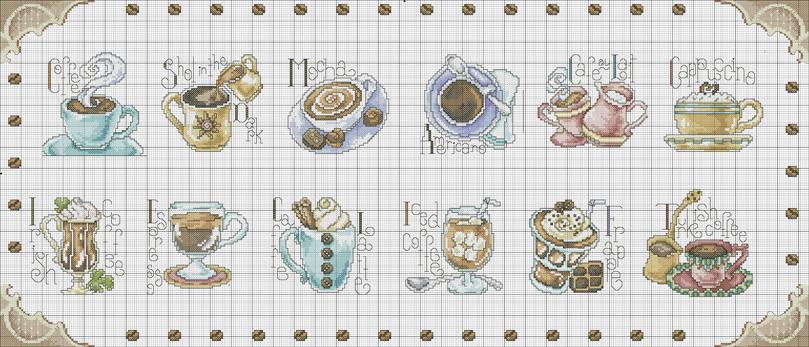 Вышивки крестом схемы кофе чай 1